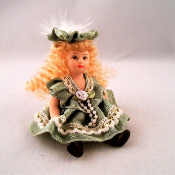 Porcelain Mini Doll Curly Blonde Hair Green Dress & Hat Pearls Jointed 5""