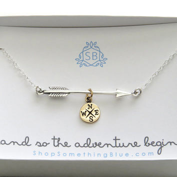 Graduation Gift • Arrow and Compass Necklace • High School Graduation • College Graduation • Class of 2017 • Student Gift • Gift for Her