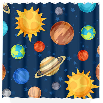 Planet SHOWER CURTAIN, Custom Monogram Personalized, Outer Space, Shared Brothers Bathroom, Beach Towel Plush Bath Mat