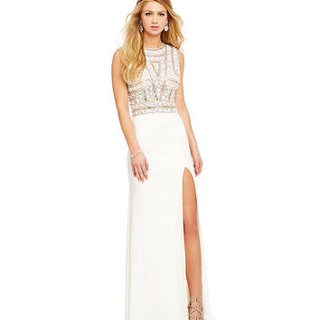 Savannah Nights Stone-Encrusted Shirt Bodice Gown | Dillards