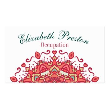 Red and Teal Fancy Half Mandala Business Card