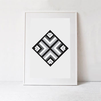 Aztec Wall Art-Printable Decor-Southwestern Print-Instant Download Art-Tribal Wall Art Print-Black and White Print-Tribal Printable-24x36