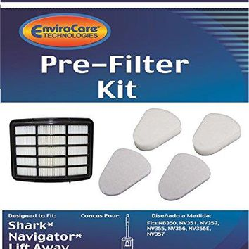 2 Shark Navigator Lift-Away NV350, NV351, NV352, NV355, NV356, NV356E, NV357 Pre-Filter Kits (Containing 2 Foam and 2 Felt Filters) + 1 Hepa Filter Replaces Shark Part # XFF350 & # XHF350
