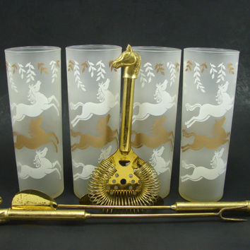 4 Libbey Cavalcade Glasses with Horse Head Bar Tool Set Gold Finish Spoon Fork Strainer Made in Italy Frosted White Gold Tumblers