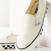 Vans Slip-On Checkerboard Sidewall White Sneaker | Urban Outfitters