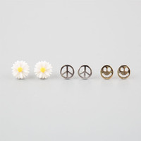 Full Tilt 3 Pairs Peace/Daisy/Happy Face Earrings Silver One Size For Women 25157414001