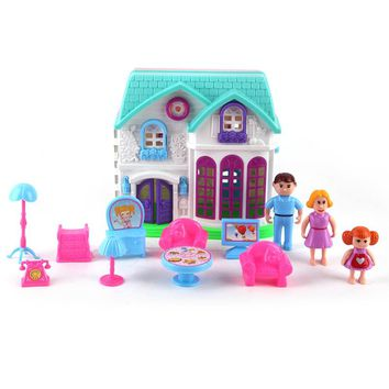 Happy Family Doll House with Accessories and Miniature Furniture