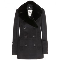 burberry london - wool and cashmere pea coat with fur collar