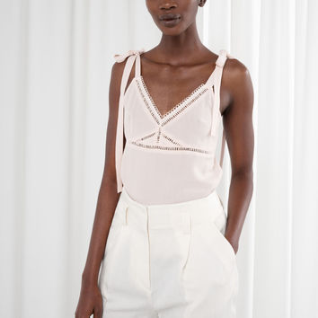 Ribbon Trimmed Tank Top - Beige - Ivory Capsule - & Other Stories US