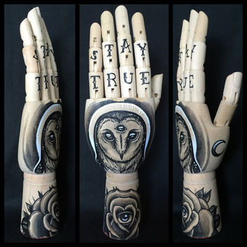 Mini wooden hand with original drawings of a barn owl with third eye and rose 'tattoo style'