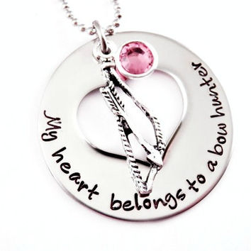NECKLACE ONLY - Personalized My Heart Belongs To A Bow Hunter- Love Necklace - Hunter - Love My Hunter - Deer - Bow Hunter - Archery