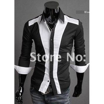 DCCKIX3 Slim Hot new white/black long sleeve plaid checked casual shirt dress tuxedo shirts for men best brand designer [9222193220]