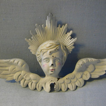 Art Deco Hand Painted Metal White Angel With Wings