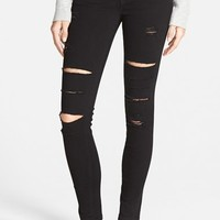 Junior Women's SP Black Destroyed Low Rise Skinny Jeans ,