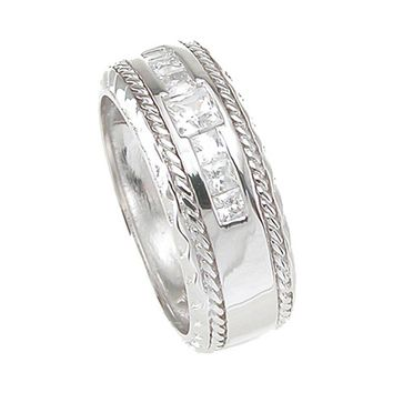 925 Sterling Silver Princess Cut Mens Wedding Band 0.25 Carat Weight - Size 12