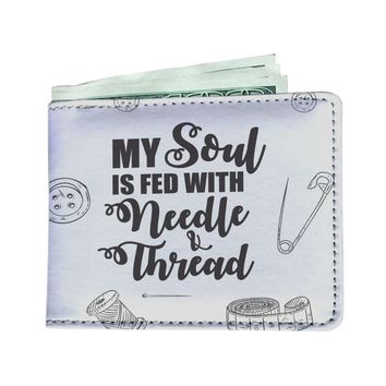 'My Soul is Fed with Needle + Thread' (Sewing) Men's Wallet