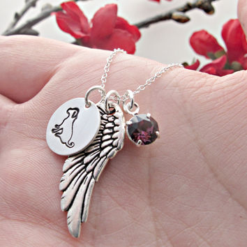 Dog Remembrance Necklace, Pet Loss Necklace, Dog Necklace, Angel Wing, Personalized Birthstone, Hand Stamped Jewelry, Memorial Necklace