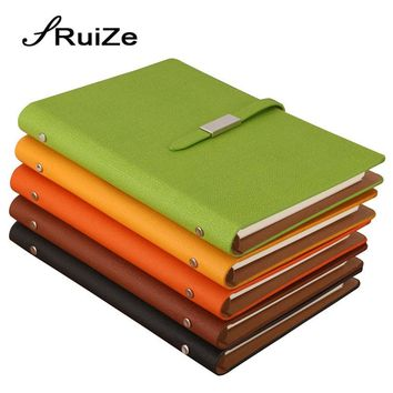 RuiZe pu leather A5 spiral notebook office notepad planner creative stationery loose leaf note book hard cover 6 ring binder