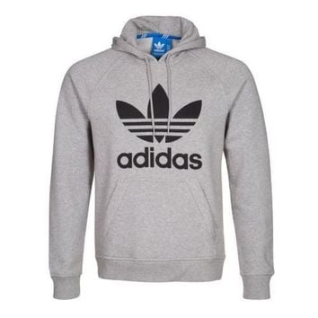 ADIDAS ORIGINALS TREFOIL HOODIE GREY SIZES S M L XL OVERHEAD SWEATER JUMPER