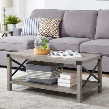 Modern Farmhouse Gray Wash Coffee Table
