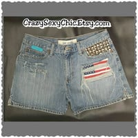 Distressed Flag Shorts Women's size 6 studded