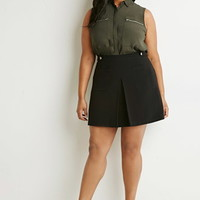 Pleat-Front Pocket Skirt