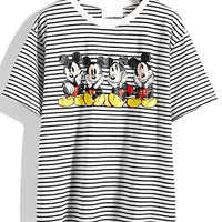 Cartoon Character Print Black Striped T-shirt