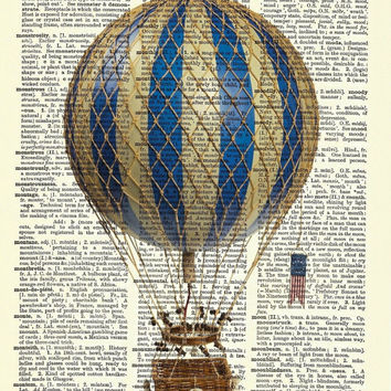 Vintage Retro Hot Air Balloon Dictionary Curious Art Print Poster Picture 8 x 11