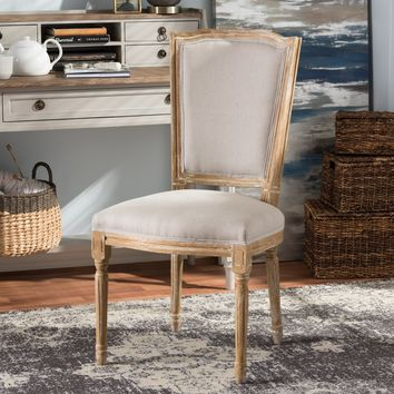 Baxton Studio Cadencia French Vintage Cottage Weathered Oak Finish Wood and Beige Fabric Upholstered Dining Side Chair Set of 1
