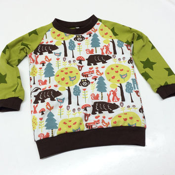 Boy Toddler shirt, Organic boys T-shirt, 12-18 months, Long Sleeve Tee, Woodland creatures, European Handmade