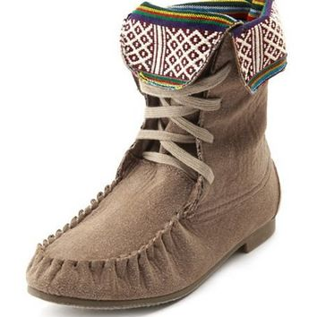 Tribal-Trim Sueded Mocassin Boot: Charlotte Russe