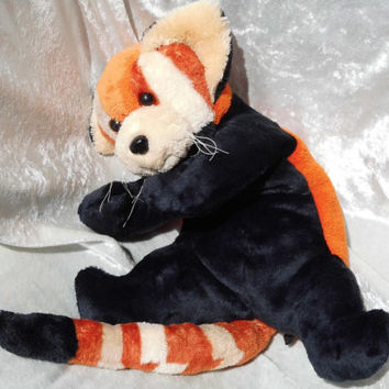 Red lesser PANDA - Soft floppy cuddly stuffed plush TOY Animal cat-bear - cat bear teddy puppy kitten - Handmade OOAK