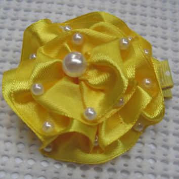 Yellow ruffled flower hair clip baby hair accessories bridesmaid hair clip with beads alligator hair clip newborn photo prop headband