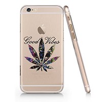 Birdbibishop- Good Vibes Weed Hard Plastic Cover Phone Case for Iphone 6/6s Hot Trend Design Pattern (White)