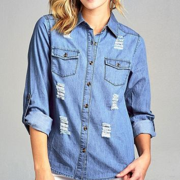 3/4 Roll Up Sleeve Distressed Chambray Shirts