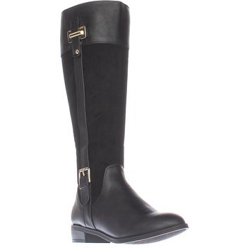 KS35 Deliee Flat Knee-High Boots, Black, 6.5 US