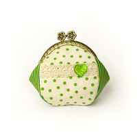 Coin purse - Cream with green polka dots - Green, yellow stripe, cream cotton fabric with metal frame