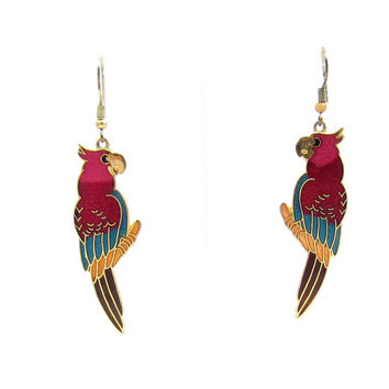 Vintage red green parrot  Cloisonne Earrings GoldTone bird Metal Vintage Jewelry enamel design Chinese Asian Dangle earrings estate drop