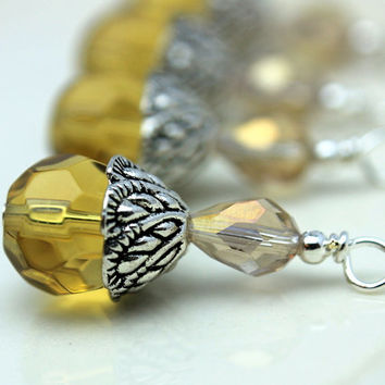 Yellow Multifaceted Round Crystal and Smokey Topaz Teardrop Bead Dangle Charm Drop Set