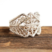 Vintage Sterling Silver Ring -  Size 8 Open Filigree Adjustable Costume Jewelry / Exquisite Crown