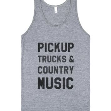 Pickup Trucks & Country Music (Tank)-Unisex Athletic Grey Tank