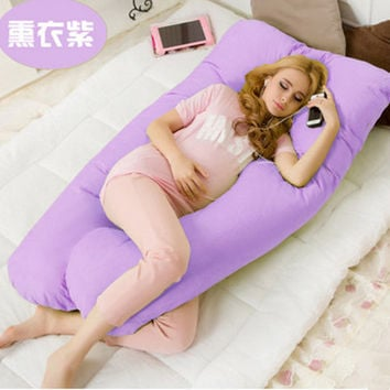 Maternity U Shaped Body Pillows Body Pregnancy Pillow For Side Sleeper Removable Cover 130*70cm 6 color