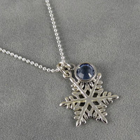 Sterling Silver Snowflake Birthstone Charm Necklace - Swarovski Crystal - Winter Season Gift