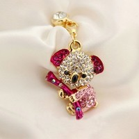 Earphone Jack Accessory 1pcs Of Crystal Lovely Koala Crystal Pearls / Dust Plug / Ear Jack For For