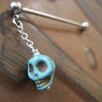 Industrial Barbell Piercing Jewelry Turquoise Blue Skull Charm Dangle Bar 14g 14 G Gauge Ear Bar Earring