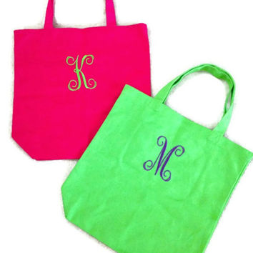 Monogrammed Canvas Tote Bag Greek Sorority Market Bag Carry All Bridesmaid Gift Custom Made Pink Orange Teal