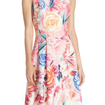 Floral Print Scuba Fit & Flare Dress (Regular & Petite)
