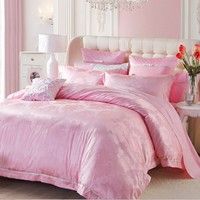 LOVO Love Story Jacquard Weave Cotton 6-Piece Bedding Set Queen Pink
