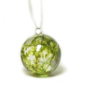 Moss Jewelry - Real Moss Jewelry - Resin Jewelry - Necklace Charm - Necklace Pendant - Resin Pendant - Green Pendant - Resin Jewelry
