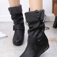 New Black Round Toe Flat Buttons Casual Mid-Calf Boots